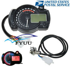 1x USA Stock Dual Color Motorcycles LCD Digital Speedometer Tachometer Gauge Kit
