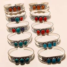 Wholesale Lot 10P Silver Plated Gemstone Bracelet Cuff Jewellery A2879
