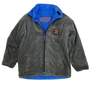 Billabong RARE Vintage Retro Cord Reversible Men's Jacket Size L Zip Hood 90's
