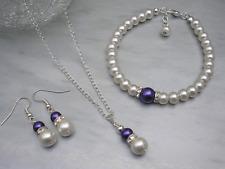 57s Pearl & Diamonte Jewellery Set Bridal Bridesmaid Wedding Birthday Necklace
