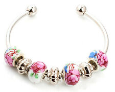 Elegant vivid Lampwork Glass SIlver Plated European Beaded Charm Bracelet Bangle