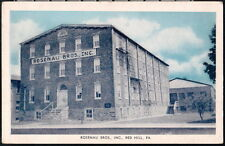 RED HILL PA Rosenau Brothers Inc Vintage B&W Blue Sky Postcard Old Town View PC