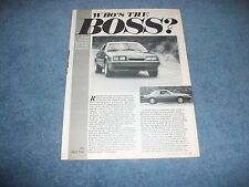 "1985 Ford Mustang GT 5.0 Vintage Info Article ""Who's the Boss?"""