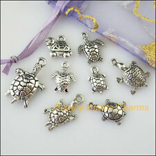 16Pcs Antiqued Silver Tone DIY/Animal Tortoise Mixed Charms Pendants