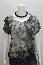 Nom De Plume YAYA Misses XS Sheer Black Gray Pullover Boxy SS Shirt Top