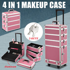 4-in-1 Aluminum Rolling Makeup Case Salo Cosmetic Organizer Trolley Train Case