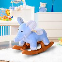 Qaba Baby Kids Toy Plush Rocking Horse Style Little Elephant Theme Riding Rocker