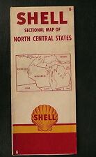 1952 Michigan Wisconsin Minnesota   road  map shell gas oil North Central #6