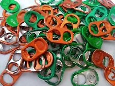 100 GREEN/ ORANGE  ASSORTED ALUMINUM CAN TABS PULL TABS POP TABS