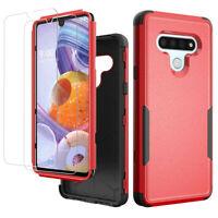 For LG Stylo 6 Case Shockproof Hybrid Armor Phone Cover+Tempered Glass Protector