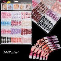 144Pcs Mixed Set False Nail Tips Artificial Fake Manicure Acrylic Nails Art Gift
