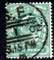 1902 Sg 216 ½d blue-green (HAL Perfin) with London SE District Office Cancel