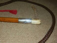Antique Gents Hunting Whip & Lash  W/ Hallmarked Silver 1930 Whip/Spur Collar