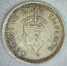 1945 B India British Silver 1/4 Rupee Coin Small 5 Variety XF Extra Fine