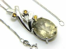 "Ladies Womens 9carat 9ct White Gold 20"" Chain & Unusual Drop Quartz Pendant"
