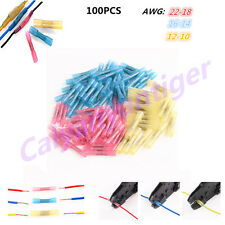 100pcs Assorted Heat Shrink Butt Electrical Wire Crimp Terminal Connectors 22-10