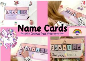 unicorn - Recognise,Trace, Write, Spell & Construct NAME CARD -Wipe clean +pen