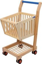 New Wooden Shopping Trolley Toy Pretend Play Shopping Supermarket Shop Role Play