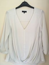 Ladies Cream & Gold 3/4 Sleeved Shirt Blouse Top Size 8 By New Look
