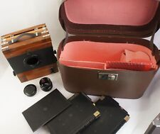 Sovet Wooden Large camera FKD 13x18,Lens Industar 51 F1:4,5/210mm, CASE,2 Casset