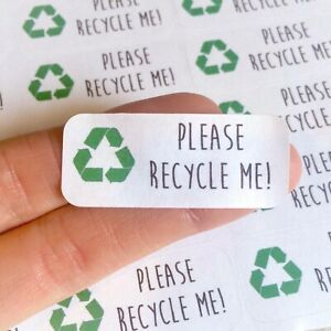 Please Recycle Me Stickers Packaging Environment Glass Rectangle Green Stickers