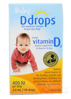 Baby Ddrops Liquid Vitamin D3 400 IU Dietary Supplement 90 Drops 2.5 ml (0.08 Oz