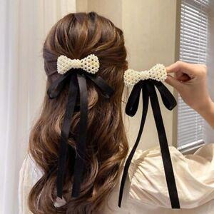 Fashion Hair Clips Bow Pearl Ribbon Hairpins Girls Barrettes Hair Accessories