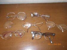Lot of 6 Pairs of Vintage Eyeglasses Glasses Frames Prescription Bifocals Old