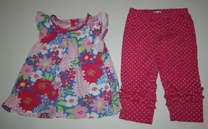 Used Le Top Girls 6 year 2 Piece Outfit Floral Tunic Top & Polka Dot Pants Soft