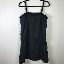 4f390a05af Philosophy 100% Linen Dress Size L Large Black Spaghetti Strap Solid D54