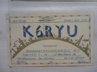 OLD VINTAGE QSL HAM RADIO CARD. FRESNO, CALIFORNIA 1957