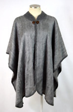 Vintage Gray Mohair Wool Poncho Wrap Cape Jacket Soft Luxe Fuzzy Crochet Trim OS