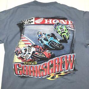 Vintage Honda Racing Motorcycle T shirt Size Medium Light Blue