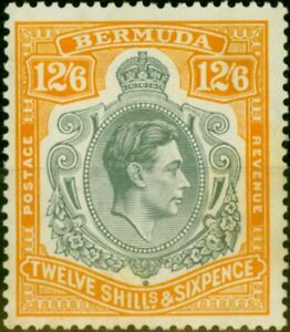 Bermuda 1938 12s6d Grey & Brownish Orange SG120a Fine Lightly Mtd Mint