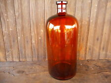 "Amber VINTAGE LARGE apx 13.5"" TALL APOTHECARY BOTTLE JAR Without STOPPER"