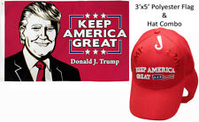 3x5 Donald J Trump Keep America Great & Trump 2020 Keep America Great Red Us Hat