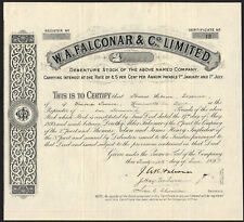 W.A.Falconar & Co. Ltd., Howden on Tyne Brewery, debenture stock certificate,...