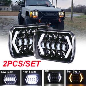 Pair 7x6 5x7 LED Headlight Hi/Lo Beam For Jeep Wrangler YJ Cherokee XJ 6052 6053