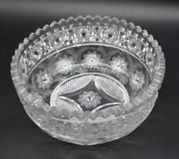 """HC Fry Glass American Brilliant Period ABP Pershing Flowers & Hobstars 8"""" Bowl"""
