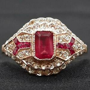 $2,499 Antique1.25ctw H-SI Old Cut Diamond 14K Rose Gold & Ruby Ring Size 7