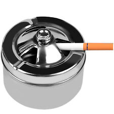 Windproof Round Stainless Steel Cigarette Ashtray with Lid & 3 Cigarette Rests