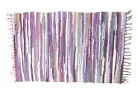 RAG RUG FAIR TRADE INDIAN MAT HAND LOOMED BRAIDED RECYCLED COTTON 60x90cm PURPLE
