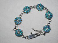 Very Nice 6 section opal floral cluster bracelet Sterling Silver signed