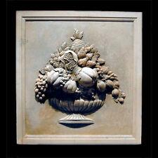 Fruit Basket Decorative Wall Relief Sculpture Plaque