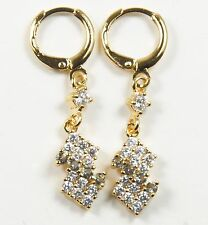 Women's 18 Carat Gold Plated Ice Blue and clear Zircon dangle Huggie Earrings