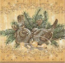 2 Serviettes en papier Oiseau sapin Decoupage Paper NApkins Christmas Birds