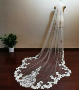 Scallop Edge 3 m Long Lace Wedding Veil Ivory Bridal Veil with Comb Accessories