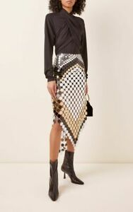 PACO RABANNE Silver Disc Paillette Skirt