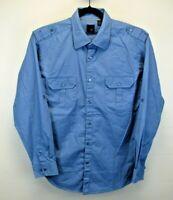 J. Ferrar Long Sleeve Men's X-Large Button Up Shirt Blue Shoulder Straps