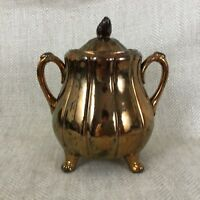 Victorian Lidded Jar Copper Luster Pottery English 19th Century